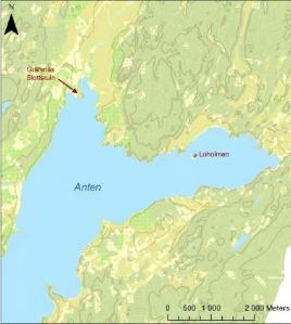Loholmen är belägen i Sjön Anten